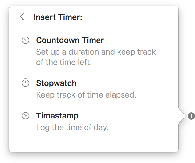 Findings screenshot, showing the popup for timer creation