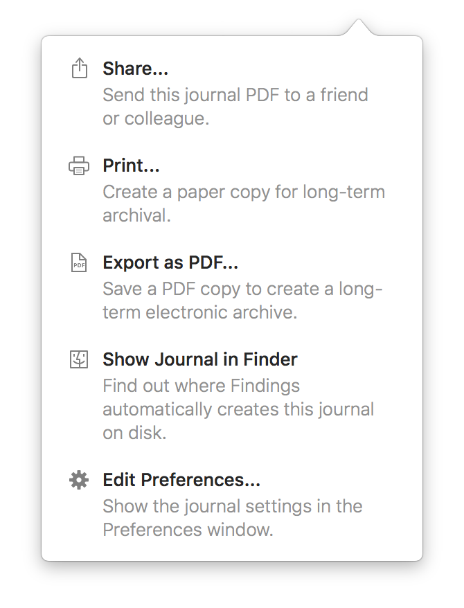 Screenshot of the journal option popover