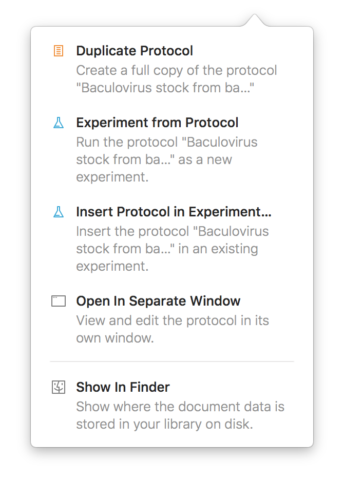 Screenshot of the protocol action popover