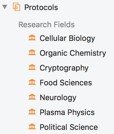 Protocols and research fields in the sidebar
